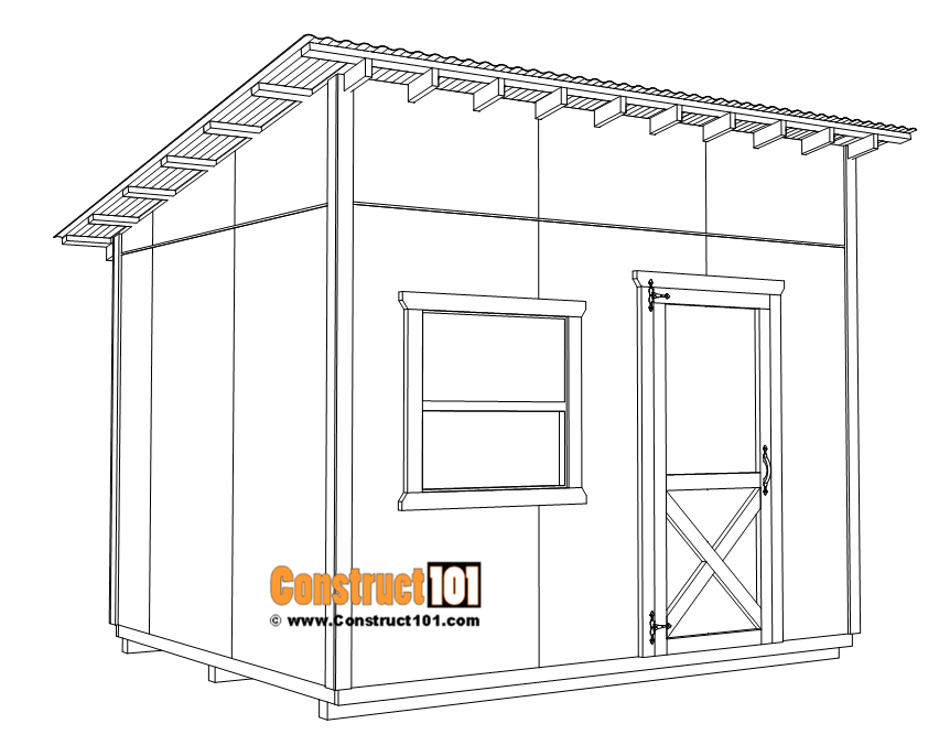 Large 10x12 lean to shed plans, 1x4 corner and window trim.