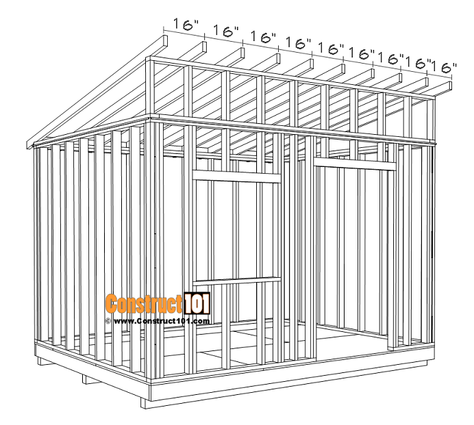 Large 10x12 lean to shed plans, roof rafters 16 inches on center.