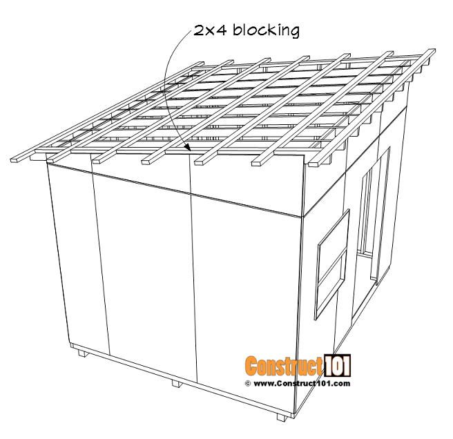 Large 10x12 lean to shed plans, 2x4 blocking between purlins.