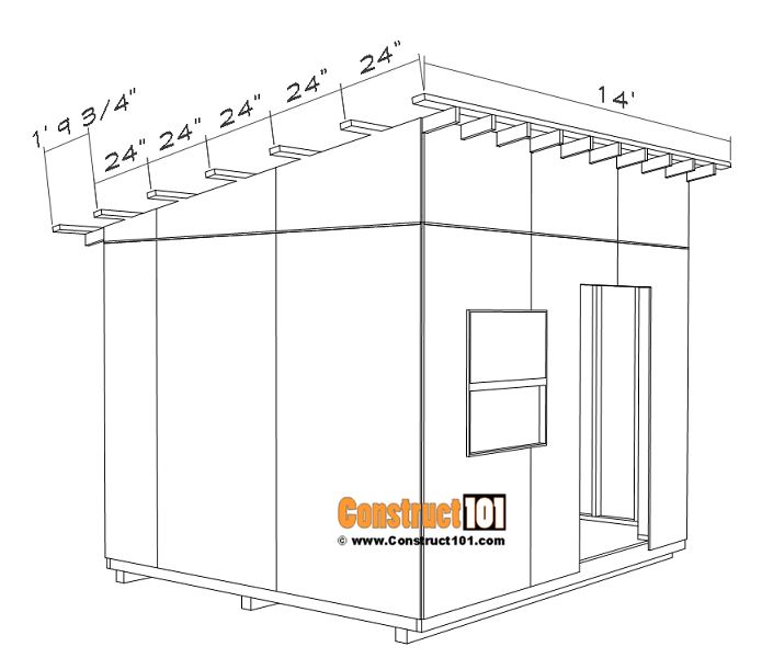 Large 10x12 lean to shed plans, 2x4 roof purlins.