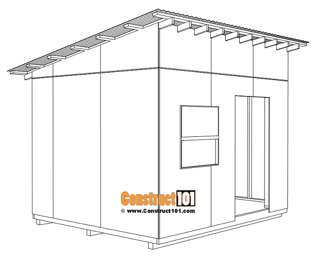 Large 10x12 lean to shed plans, metal corrugated roofing panels.