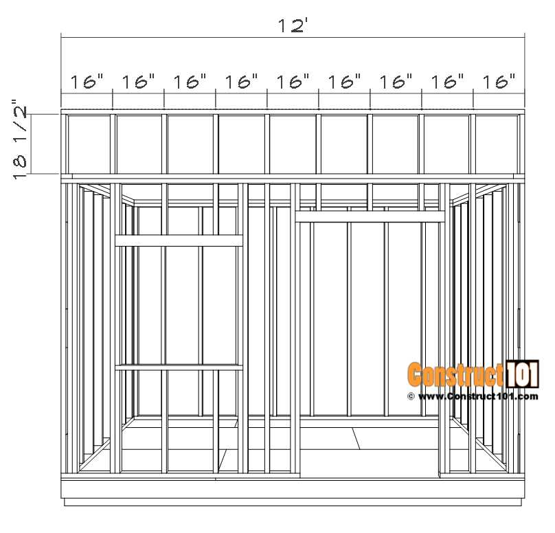 Top front wall framing details.