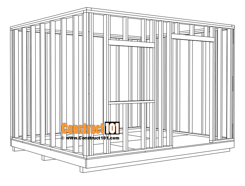 Large 10x12 lean to shed plans, wall framing details.