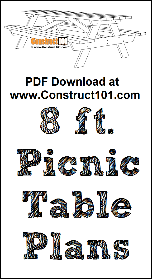 8 foot picnic table plans, free PDF download, material list, DIY project.