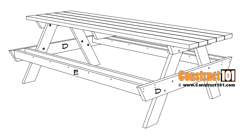 8 foot picnic table plans, seat brace installation.