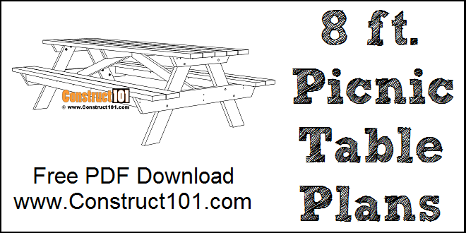 8 foot picnic table plans, free PDF download.