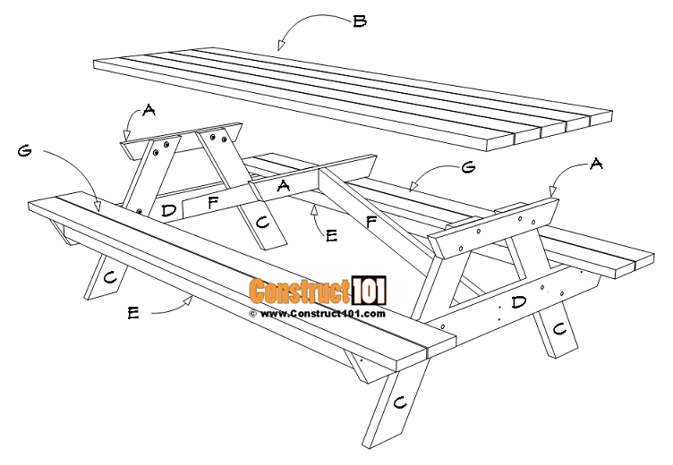 8 Foot Picnic Table Plans Diy Projects Construct101