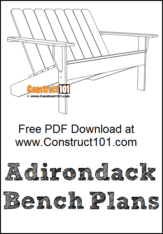 Adirondack bench plans, free PDF download, material, list, how to DIY projects.