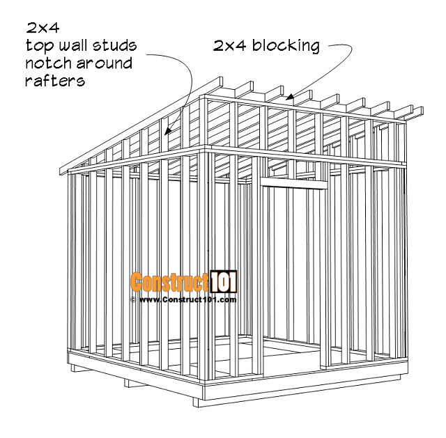 Large 10x10 lean to shed plans, rafters, 2x4 blocking.