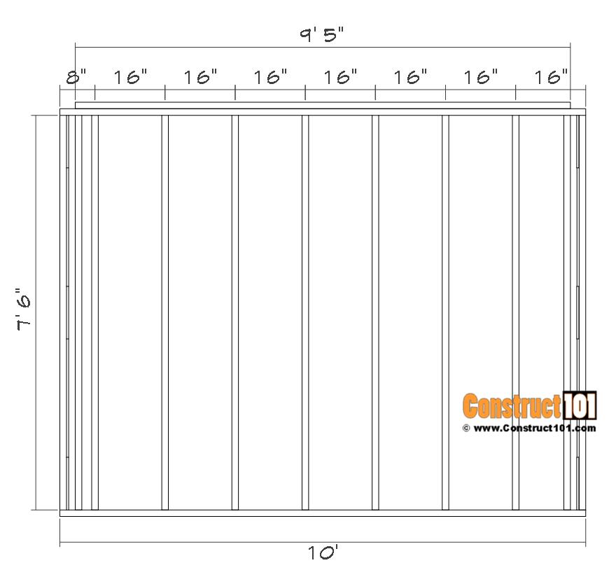 Shed front/back wall frame details.