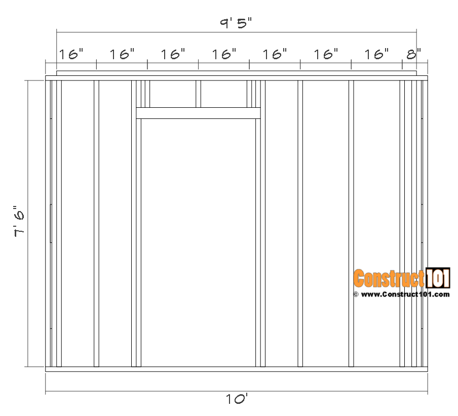 Shed front wall door framing details.