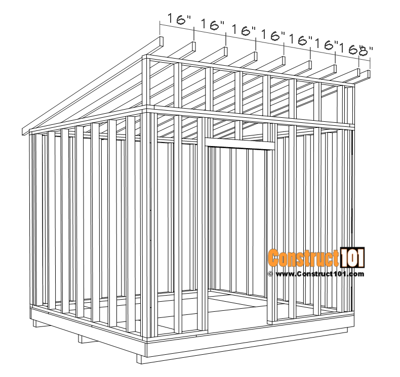Large 10x10 lean to shed plans, rafters 16 inches on center.