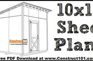 Large 10x10 lean to shed plans, free PDF download.