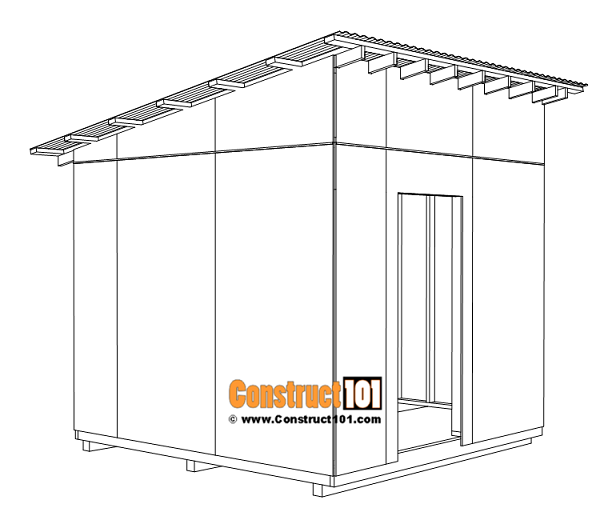 Large 10x10 lean to shed plans, corrugated roofing panels.