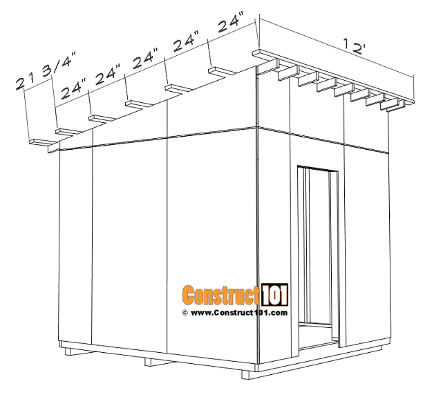 Large 10x10 lean to shed plans, 2x4 purlins 24 inches on center.