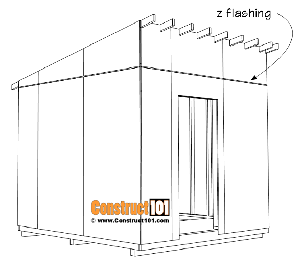 Large 10x10 lean to shed plans, t1-11 exterior siding and z flashing.