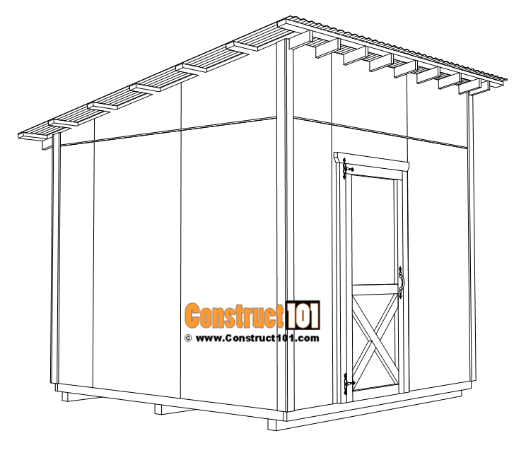 Large 10x10 lean to shed plans, corner 1x4 trim boards.