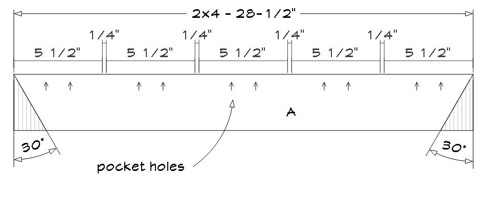 6-foot picnic table plans. Table batten cutting details.