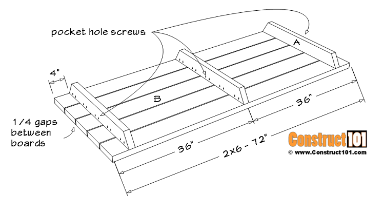 6-foot picnic table plans, material list (B) table top boards.