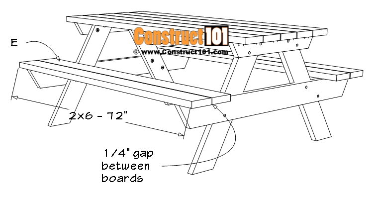 6-foot picnic table plans, material list (E) seat boards.