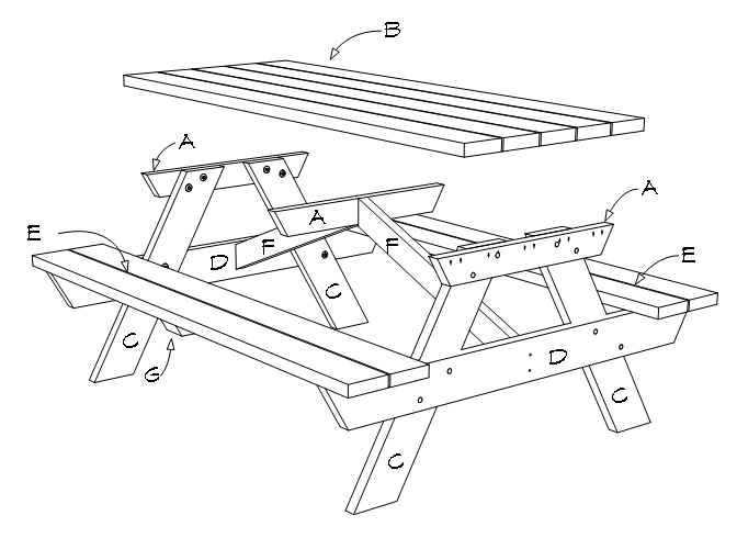 6-foot picnic table plans, material, parts list, exploded view.