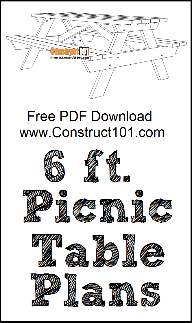 6 foot picnic table plans, free PDF download, material list, DIY projects.