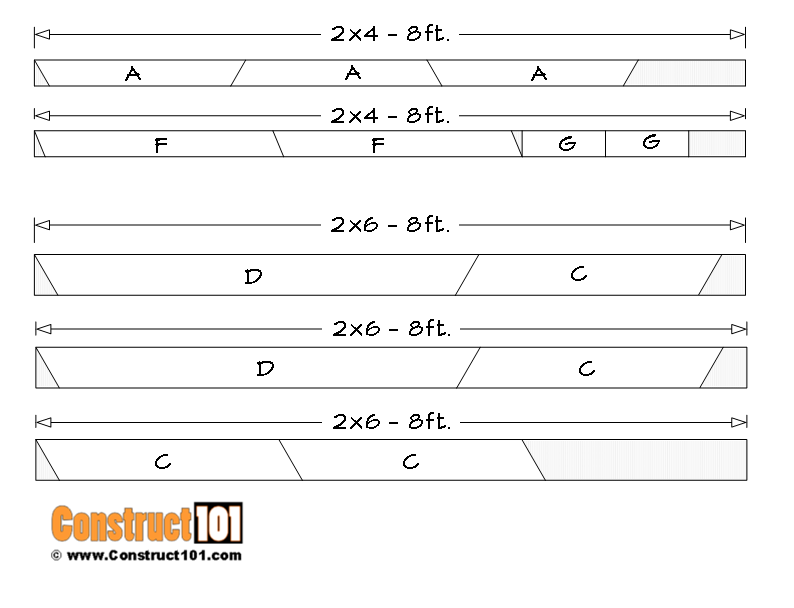 6-foot picnic table plans, material list cutting details.