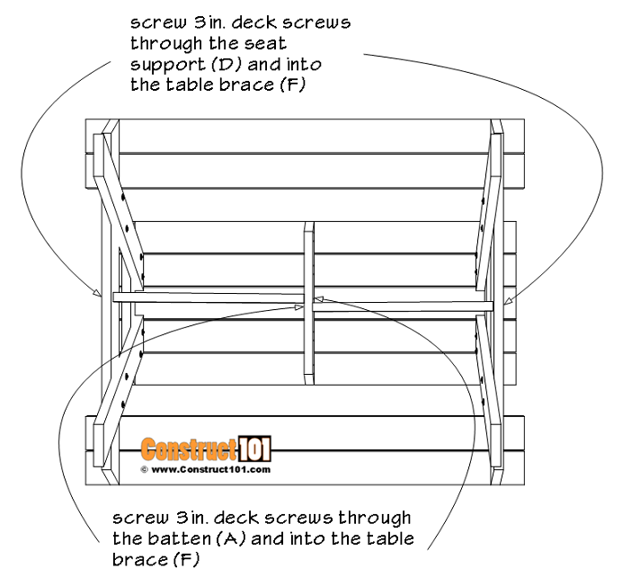 6-foot picnic table plans. Table brace installation instructions.