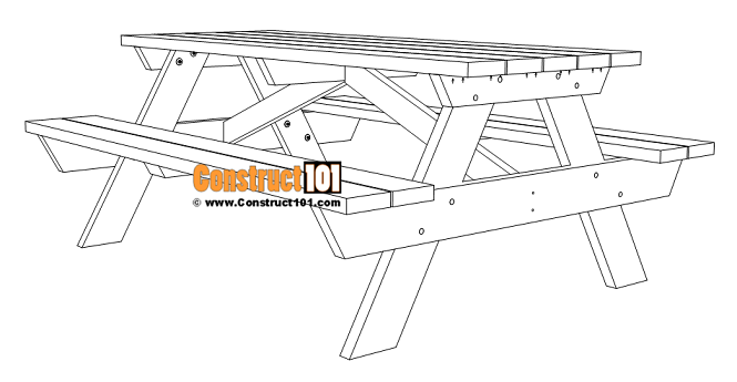 6-foot picnic table plans, PDF download, DIY projects.