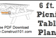 6 foot picnic table plans, free PDF download.