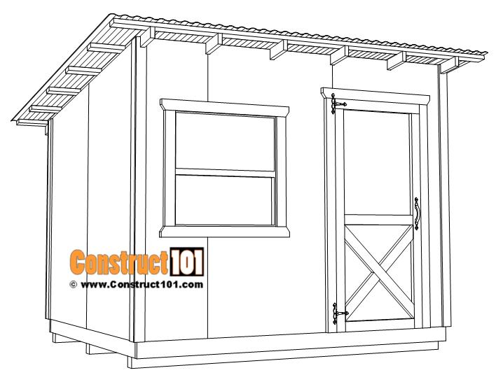 8x10 lean to shed plans, free PDF download.