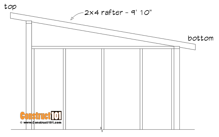 8x10 lean to shed plans, rafter details.