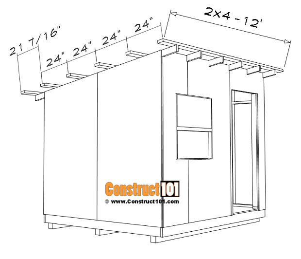 8x10 lean to shed plans, 2x4 roof purlins.