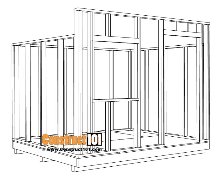 DIY shed wall framing.