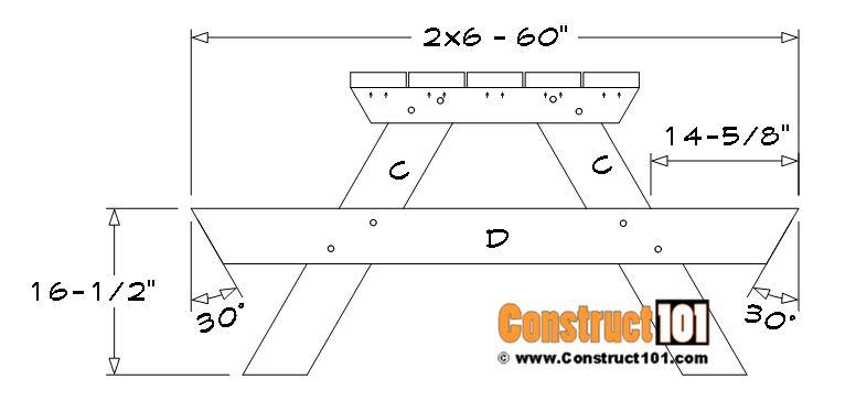 5 foot picnic table plans, seat support (D).