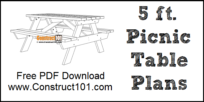 5 foot picnic table plans, free PDF download.