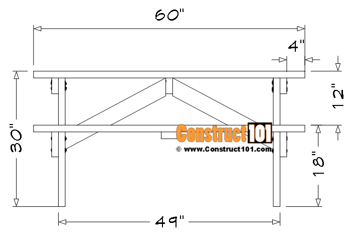 5 foot picnic table plans, front view.