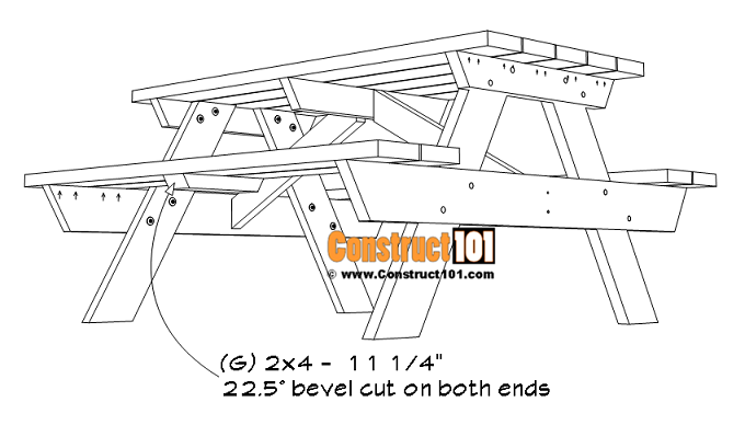 5-foot picnic table plans, bench seat cleats (G).
