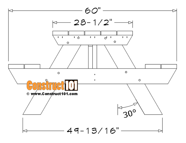 5 foot picnic table plans, side view.