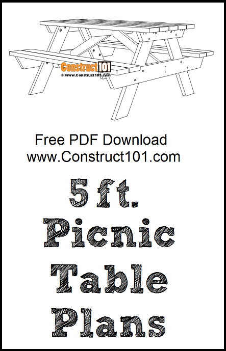 5 foot picnic table plans, free PDF download, material list, DIY projects.